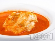 Доматена супа с галушки с телешка кайма